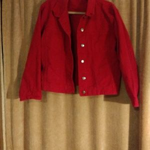 Red canvas jean jacket, Chico's brand